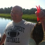Brad with a nice Inshore Flounder (Fishing Topsail Beach)